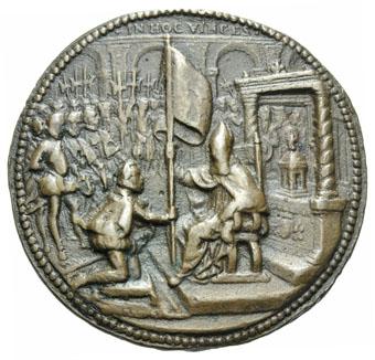 Ogn numismatique MEDAILLES MEDAILLES MEDAILLES CONCERNANT BOURGOGNE ET FRANCHE-COMTE Perrenot de Granvelle Antoine PERRENOT de GRANVELLE remet l'étendard pour la guerre contre les Turcs.