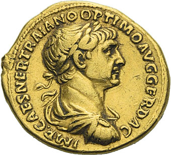 Ogn numismatique ARCHIVES VENTE 2012 EMPIRE ROMAIN TRAJAN (98-117)  283- Aureus, frappé à Rome en 114/116.