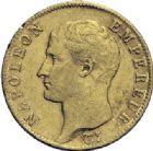 Photo numismatique  ARCHIVES VENTE 2014 -Coll J P Dixméras MODERNES FRANÇAISES NAPOLEON Ier, empereur (18 mai 1804- 6 avril 1814)  610- 20 francs or, Perpignan an 14.