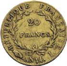 Photo numismatique  ARCHIVES VENTE 2014 -Coll J P Dixméras MODERNES FRANÇAISES NAPOLEON Ier, empereur (18 mai 1804- 6 avril 1814)  609- 20 francs or, Limoges an 14.