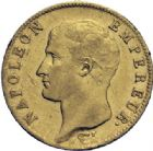 Photo numismatique  ARCHIVES VENTE 2014 -Coll J P Dixméras MODERNES FRANÇAISES NAPOLEON Ier, empereur (18 mai 1804- 6 avril 1814)  608- 20 francs or, Paris an 14.