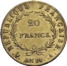 Photo numismatique  ARCHIVES VENTE 2014 -Coll J P Dixméras MODERNES FRANÇAISES NAPOLEON Ier, empereur (18 mai 1804- 6 avril 1814)  608- 20 francs or, Paris an 14.