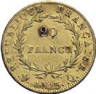 Photo numismatique  ARCHIVES VENTE 2014 -Coll J P Dixméras MODERNES FRANÇAISES NAPOLEON Ier, empereur (18 mai 1804- 6 avril 1814)  606- 20 francs or, Perpignan an 13.