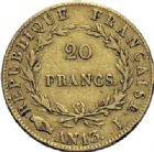 Photo numismatique  ARCHIVES VENTE 2014 -Coll J P Dixméras MODERNES FRANÇAISES NAPOLEON Ier, empereur (18 mai 1804- 6 avril 1814)  605- 20 francs or, Limoges an 13.