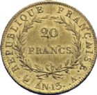 Photo numismatique  ARCHIVES VENTE 2014 -Coll J P Dixméras MODERNES FRANÇAISES NAPOLEON Ier, empereur (18 mai 1804- 6 avril 1814)  604- 20 francs or, Paris an 13.