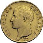 Photo numismatique  ARCHIVES VENTE 2014 -Coll J P Dixméras MODERNES FRANÇAISES NAPOLEON Ier, empereur (18 mai 1804- 6 avril 1814)  603- 40 francs or, Lille an 14.