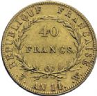 Photo numismatique  ARCHIVES VENTE 2014 -Coll J P Dixméras MODERNES FRANÇAISES NAPOLEON Ier, empereur (18 mai 1804- 6 avril 1814)  603- 40 francs or, Lille an 14.