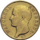 Photo numismatique  ARCHIVES VENTE 2014 -Coll J P Dixméras MODERNES FRANÇAISES NAPOLEON Ier, empereur (18 mai 1804- 6 avril 1814)  602- 40 francs or, Turin an 14.