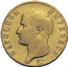 Photo numismatique  ARCHIVES VENTE 2014 -Coll J P Dixméras MODERNES FRANÇAISES NAPOLEON Ier, empereur (18 mai 1804- 6 avril 1814)  601- 40 francs or, Paris an 14.
