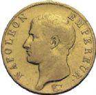 Photo numismatique  ARCHIVES VENTE 2014 -Coll J P Dixméras MODERNES FRANÇAISES NAPOLEON Ier, empereur (18 mai 1804- 6 avril 1814)  601- 40 francs or, Paris an 14.