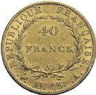 Photo numismatique  ARCHIVES VENTE 2014 -Coll J P Dixméras MODERNES FRANÇAISES NAPOLEON Ier, empereur (18 mai 1804- 6 avril 1814)  600- Nouveau type. 40 francs or, Paris an 13.
