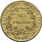 Photo numismatique  ARCHIVES VENTE 2014 -Coll J P Dixméras MODERNES FRANÇAISES NAPOLEON Ier, empereur (18 mai 1804- 6 avril 1814)  599- 20 francs or, Paris an 12.