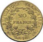 Photo numismatique  ARCHIVES VENTE 2014 -Coll J P Dixméras MODERNES FRANÇAISES NAPOLEON Ier, empereur (18 mai 1804- 6 avril 1814)  599- 20 francs or, Paris an 12.