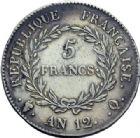 Photo numismatique  ARCHIVES VENTE 2014 -Coll J P Dixméras MODERNES FRANÇAISES BONAPARTE, 1er consul (24 décembre 1799-18 mai 1804)  594- 5 francs an 12, Paris, Bordeaux, Toulouse, *Perpignan.