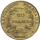 Photo numismatique  ARCHIVES VENTE 2014 -Coll J P Dixméras MODERNES FRANÇAISES BONAPARTE, 1er consul (24 décembre 1799-18 mai 1804)  591- 20 francs or, Paris an 12.