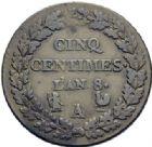 Photo numismatique  ARCHIVES VENTE 2014 -Coll J P Dixméras MODERNES FRANÇAISES LE CONSULAT (à partir du 24 décembre 1799-18 mai 1804)  583- Cinq centimes, Paris an 8 (A sur B).