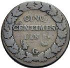 Photo numismatique  ARCHIVES VENTE 2014 -Coll J P Dixméras MODERNES FRANÇAISES LE CONSULAT (à partir du 24 décembre 1799-18 mai 1804)  582- 5 centimes an 8 et un décime an 9, Genève.
