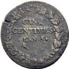 Photo numismatique  ARCHIVES VENTE 2014 -Coll J P Dixméras MODERNES FRANÇAISES LE DIRECTOIRE (27 octobre 1795-10 novembre 1799)  575- Lot de 2 monnaies.
