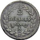 Photo numismatique  ARCHIVES VENTE 2014 -Coll J P Dixméras MODERNES FRANÇAISES LE DIRECTOIRE (27 octobre 1795-10 novembre 1799)  572- 2 décimes, Paris an 4.
