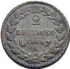 Photo numismatique  ARCHIVES VENTE 2014 -Coll J P Dixméras MODERNES FRANÇAISES LE DIRECTOIRE (27 octobre 1795-10 novembre 1799)  571- 2 décimes, Paris an 4.