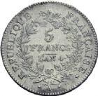 Photo numismatique  ARCHIVES VENTE 2014 -Coll J P Dixméras MODERNES FRANÇAISES LE DIRECTOIRE (27 octobre 1795-10 novembre 1799)  569- 5 francs, Paris an 4.