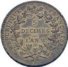 Photo numismatique  ARCHIVES VENTE 2014 -Coll J P Dixméras MODERNES FRANÇAISES LA CONVENTION (22 septembre 1792 - 26 octobre 1795)  565- Essai de 5 décimes, Paris an II.