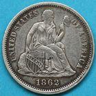 Photo numismatique  MONNAIES MONNAIES DU MONDE ÉTATS-UNIS d'AMÉRIQUE du NORD Depuis 1776 One dime de 1862.