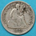 Photo numismatique  MONNAIES MONNAIES DU MONDE ÉTATS-UNIS d'AMÉRIQUE du NORD  Half dime de 1873.