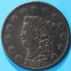 Photo numismatique  MONNAIES MONNAIES DU MONDE ÉTATS-UNIS d'AMÉRIQUE du NORD  One cent de 1817.