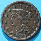 Photo numismatique  MONNAIES MONNAIES DU MONDE ÉTATS-UNIS d'AMÉRIQUE du NORD  One cent de 1846.