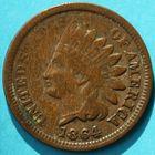Photo numismatique  MONNAIES MONNAIES DU MONDE ÉTATS-UNIS d'AMÉRIQUE du NORD  One cent de 1864.