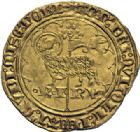 Photo numismatique  ARCHIVES VENTE 2014 -Coll J P Dixméras ROYALES FRANCAISES CHARLES VI (16 septembre 1380-21 octobre 1422)  247- Agnel d'or de la 1ère émission (10 mai 1417), Angers.