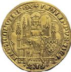 Photo numismatique  ARCHIVES VENTE 2014 -Coll J P Dixméras ROYALES FRANCAISES PHILIPPE VI DE VALOIS(1er avril 1328-22 août 1350)  230- Ecu d'or à la chaise de la 1ère émission (1er janvier 1337).