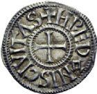 Photo numismatique  ARCHIVES VENTE 2014 -Coll J P Dixméras CAROLINGIENS CHARLES LE CHAUVE, roi (840-875) - empereur (jour de Noël 875-6 octobre 877)  199- Denier de Rennes, après 864.