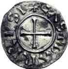 Photo numismatique  ARCHIVES VENTE 2014 -Coll J P Dixméras CAROLINGIENS CHARLES LE CHAUVE, roi (840-875) - empereur (jour de Noël 875-6 octobre 877)  195- Obole de Bar-sur-Aube.