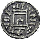 Photo numismatique  ARCHIVES VENTE 2014 -Coll J P Dixméras CAROLINGIENS CHARLES LE CHAUVE, roi (840-875) - empereur (jour de Noël 875-6 octobre 877)  191- Denier d'Orléans à la porte, 840-864.