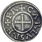 Photo numismatique  ARCHIVES VENTE 2014 -Coll J P Dixméras CAROLINGIENS CHARLES LE CHAUVE, roi (840-875) - empereur (jour de Noël 875-6 octobre 877)  190- Denier de Paris.