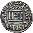 Photo numismatique  ARCHIVES VENTE 2014 -Coll J P Dixméras CAROLINGIENS LOUIS LE PIEUX, empereur (janvier 814-20 juin 840)  186- Denier d'atelier indéterminé.