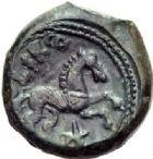 Photo numismatique  ARCHIVES VENTE 2014 -Coll J P Dixméras IBERIE- GAULE - CELTES AULERQUES EBUROVICES (région d'Evreux)  88- Semis de bronze (vers 60 à 30/25 avant J.C).