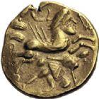 Photo numismatique  ARCHIVES VENTE 2014 -Coll J P Dixméras IBERIE- GAULE - CELTES AULERQUES CENOMANS (région de la Sarthe)  86- Statère d'or (2ème siècle avant J.C.).