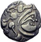 Photo numismatique  ARCHIVES VENTE 2014 -Coll J P Dixméras GAULE - CELTES BAÏOCASSES (région de Bayeux)  85- Statère d'argent.