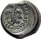 Photo numismatique  ARCHIVES VENTE 2014 -Coll J P Dixméras IBERIE- GAULE - CELTES LEXOVII (région de Lisieux)  82- Bronze avec nom de magistrat. Semis de Cisiambos, classe I.