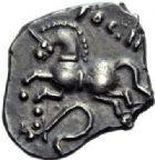 Photo numismatique  ARCHIVES VENTE 2014 -Coll J P Dixméras IBERIE- GAULE - CELTES SEQUANES (région de Besançon)  76- Denier de Togirix (à partir de 85 avant J. C.).