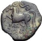 Photo numismatique  ARCHIVES VENTE 2014 -Coll J P Dixméras IBERIE- GAULE - CELTES ARVERNES (région de l'Auvergne)  57- Bronze d'Adcanaunos.