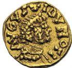 Photo numismatique  ARCHIVES VENTE 2014 -Coll J P Dixméras PEUPLES BARBARES MEROVINGIENS CITES AUTUN (Saône-et-Loire) 27- Tremissis au nom du monétaire Florus.