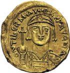 Photo numismatique  ARCHIVES VENTE 2014 -Coll J P Dixméras EMPIRE BYZANTIN MAURICE TIBERE (582-602)  25- Solidus de la première année de règne, Carthage.