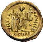 Photo numismatique  ARCHIVES VENTE 2014 -Coll J P Dixméras EMPIRE BYZANTIN JUSTINIEN Ier (527-565)  23- Solidus, Constantinople.
