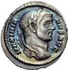 Photo numismatique  ARCHIVES VENTE 2014 -Coll J P Dixméras EMPIRE ROMAIN MAXIMIEN HERCULE (César 286-305 - Auguste 306-308, 310)  12- Argenteus de la 2ème émission, Rome 295-296.
