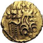 Photo numismatique  MONNAIES GAULE - CELTES OUEST DU BELGIUM  1/4 de statère d'or au petit serpent cornu (vers 60-25 avant JC.).
