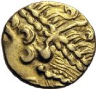 Photo numismatique  MONNAIES IBERIE- GAULE - CELTES AMBIANI (Bassin de la Somme)  1/4 de statère d'or (2ème siècle avant JC.).